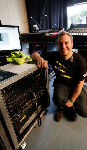Toby Donovan, Capital Sound, Sound Engineer with Optocore Rack