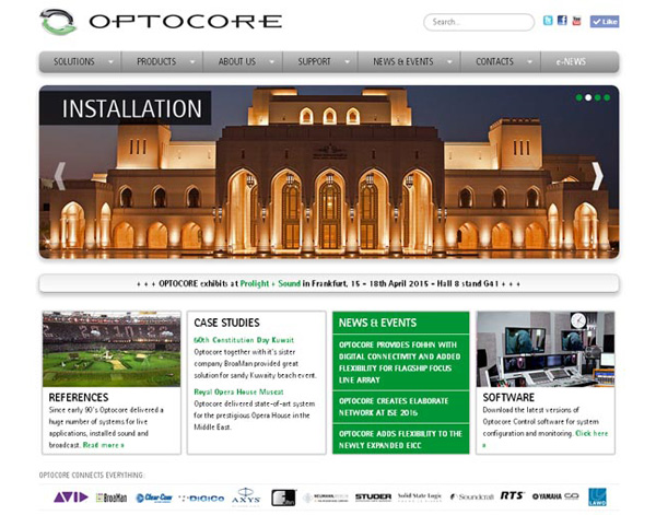 Optocore has completely overhauled its website, injecting it with more visual impact but at the same time making it graphically 'cleaner' and easier to navigate, leading the visitor easily to the market segment of his choice.
